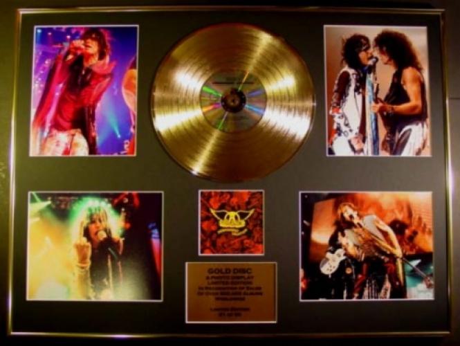 AEROSMITH/GIGANTIC CD GOLD DISC & PHOTO DISPLAY/LTD. EDITION/PERMAN...