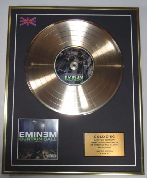 Eminem Ltd Edition Cd Gold Disc Curtain Call