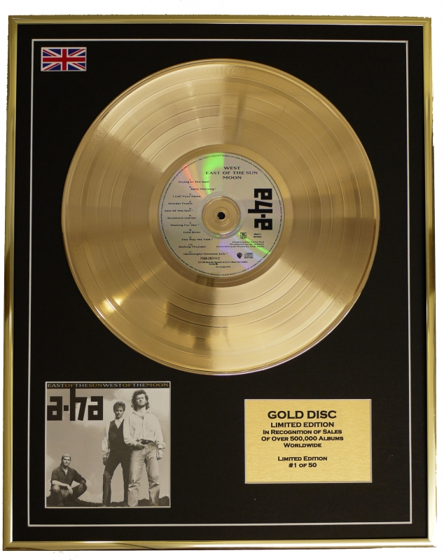 A-HA/LIMITED EDITION CD GOLD DISC/'EAST OF THE SUN WEST OF THE MOON...
