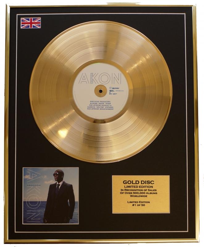 AKON/LTD. EDITION CD GOLD DISC/GOLD RECORD/FREEDOM