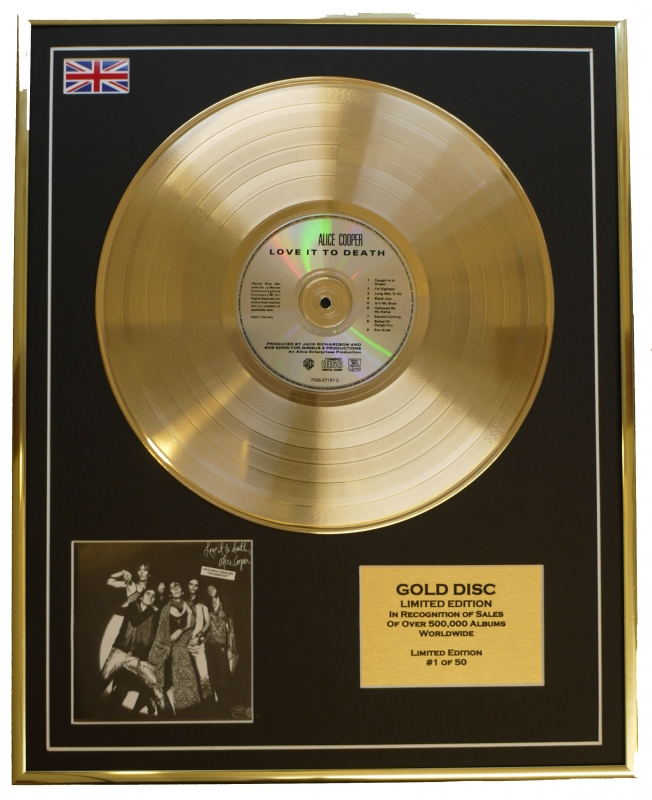 ALICE COOPER/LIMITED EDITION/CD GOLD DISC/ALBUM 'LOVE IT TO DEATH'/...