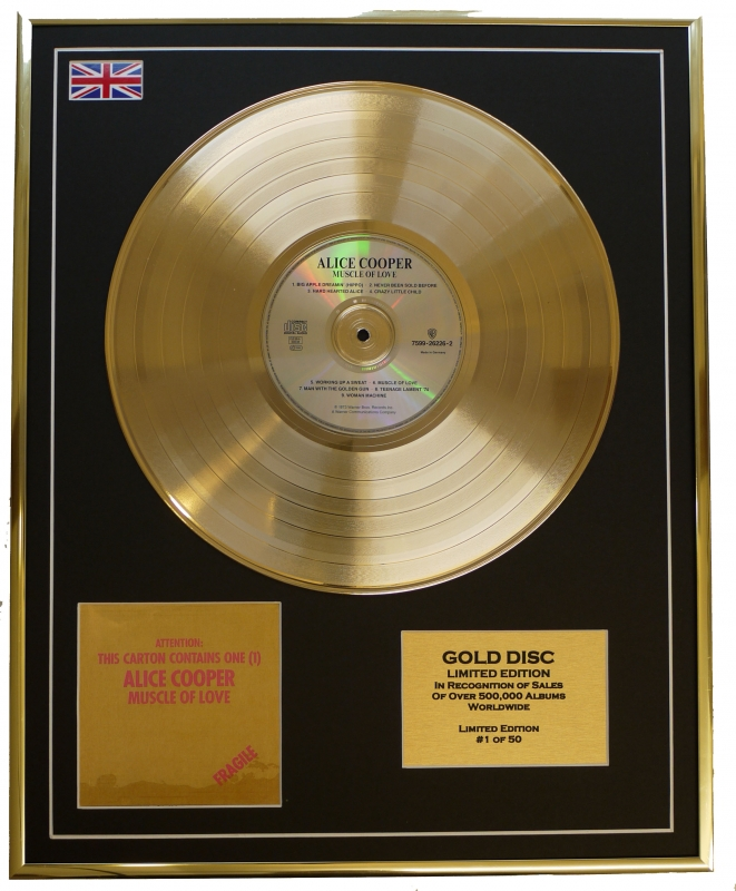 ALICE COOPER/LIMITED EDITION/CD GOLD DISC/ALBUM 'MUSCLE OF LOVE'/(A...