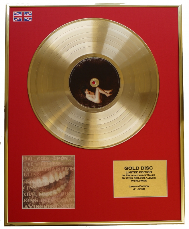 ALANIS MORISSETTE/LTD. EDITION CD GOLD DISC/RECORD/SUPPOSED FORMER ...