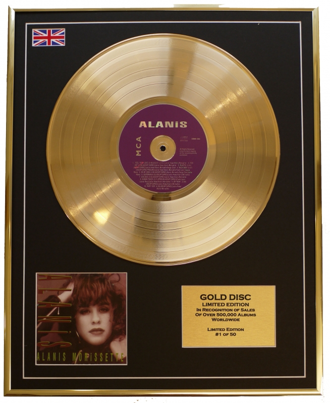 ALANIS MORISSETTE/LTD. EDITION CD GOLD DISC/RECORD/ALANIS