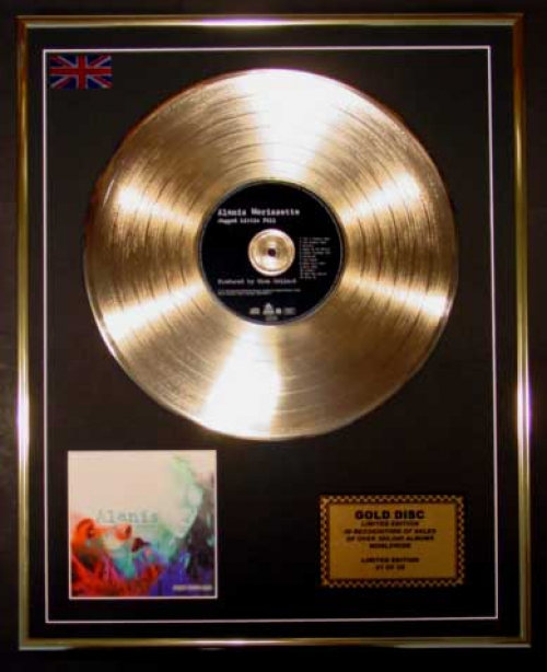 "ALANIS MORISSETTE/LTD. EDITION CD GOLD DISC/RECORD/""JAGGED LITTLE P..."