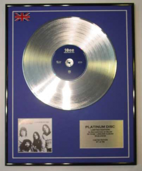 10CC/LTD EDITION CD PLATINUM DISC/THE BEST OF THE EARLY YEARS