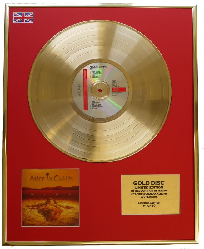 ALICE IN CHAINS/LTD. EDITION CD GOLD DISC/RECORD/