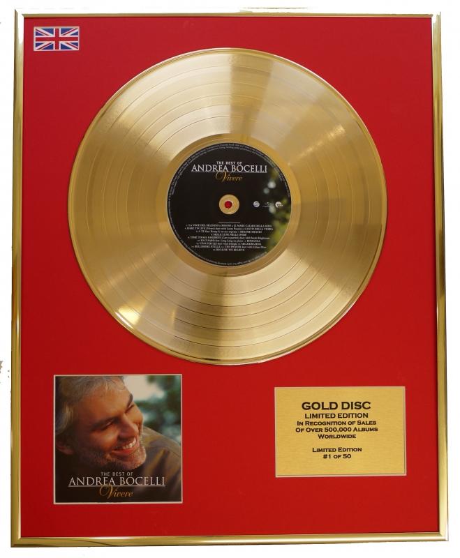 ANDREA BOCELLI/LTD. EDITION CD GOLD DISC/RECORD/