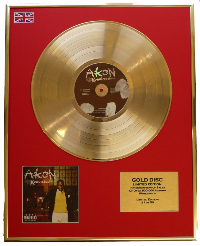 """AKON/LIMITED EDITION/CD GOLD DISC/RECORD/""""KONVICTED"""""""