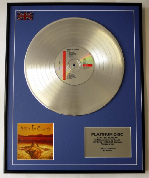 ALICE IN CHAINS/LIMITED EDITION/CD PLATINUM DISC/RECORD/DIRT