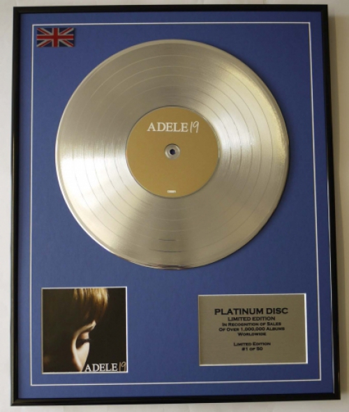 ADELE/LIMITED EDITION/CD PLATINUM DISC/RECORD/19