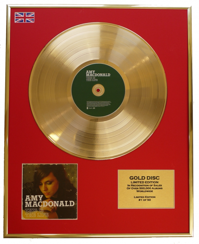 AMY MACDONALD/LTD. EDITION CD GOLD DISC/RECORD/THIS IS THE LIFE