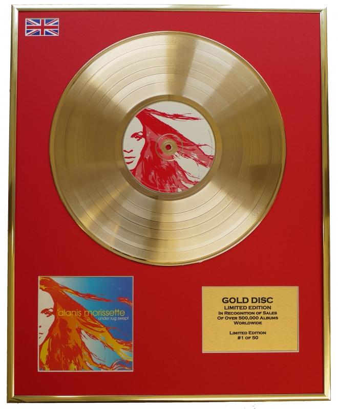 ALANIS MORISSETTE/LTD. EDITION CD GOLD DISC/RECORD/UNDER RUG SWEPT