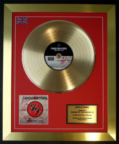 The Foo Fighters Cd Gold Disc Signed Coa Greatest Hits