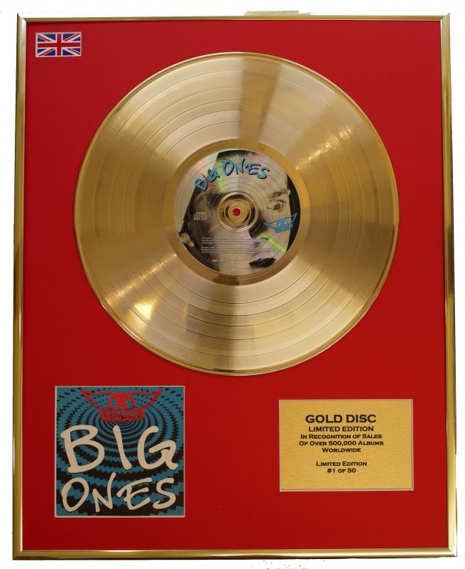 "AEROSMITH/LTD. EDITION CD GOLD DISC/RECORD/""BIG ONES"""
