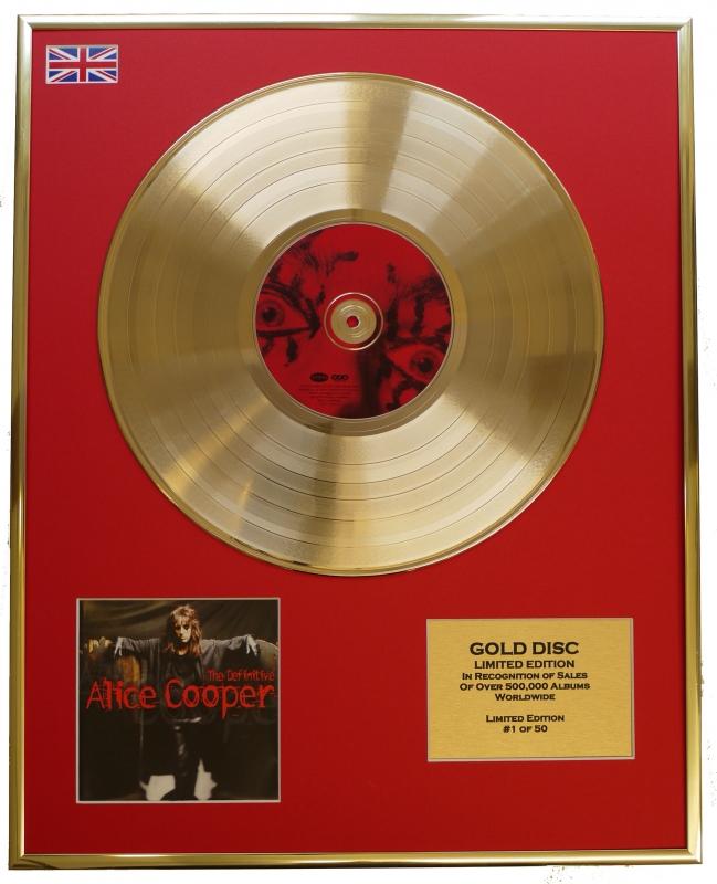 """ALICE COOPER/LTD. EDITION CD GOLD DISC/RECORD/""""THE DEFINITIVE ALICE..."""