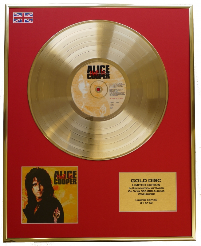 """ALICE COOPER/LTD. EDITION CD GOLD DISC/RECORD/""""HELL IS"""""""