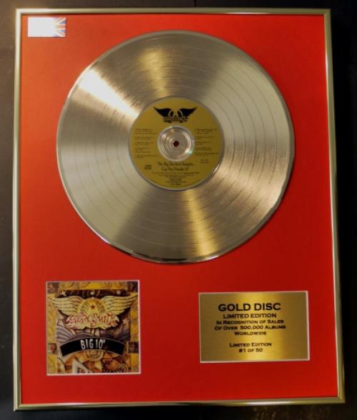 AEROSMITH//LTD. EDITION CD GOLD DISC/RECORD/