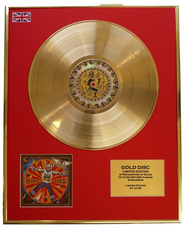 "AEROSMITH/LTD. EDITION CD GOLD DISC/RECORD/""NINE LIVES"""