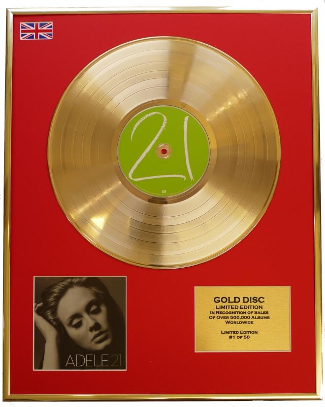 "ADELE/LTD. EDITION CD GOLD DISC/RECORD/""21"""