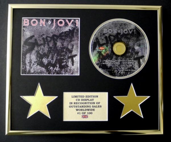 BON JOVI/CD DISPLAY/ LIMITED EDITION/COA/SLIPPERY WHEN WET