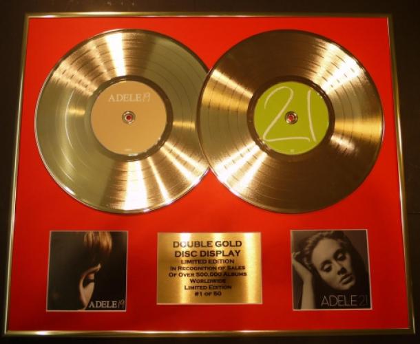 "ADELE/DOUBLE CD GOLD DISC DISPLAY/LTD. EDITION/COA//""19"" & ""21"""