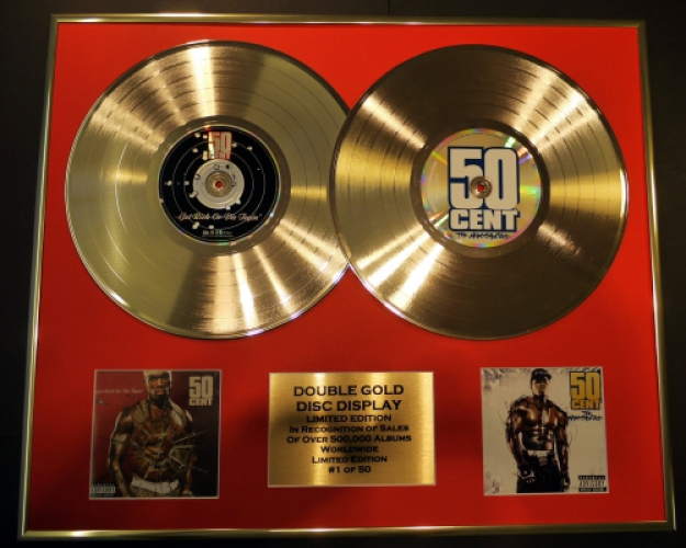 "50 CENT/DOUBLE CD GOLD DISC DISPLAY/LTD ED/COA/""GET RICH OR DIE TRY..."