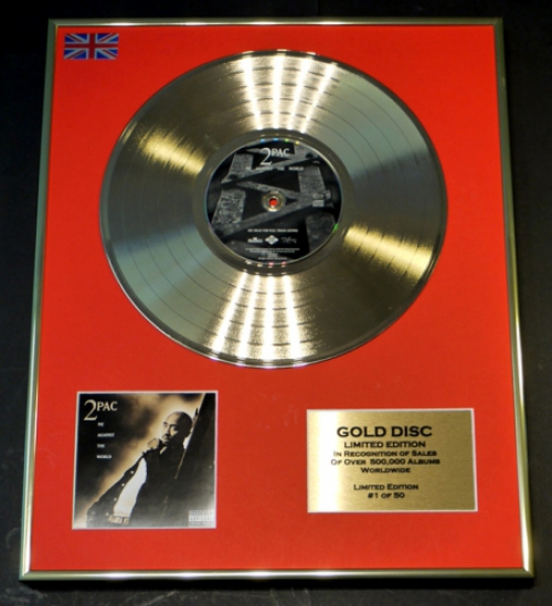 2PAC/LIMITED EDITION CD GOLD DISC/RECORD/COA/ME AGAINST THE WORLD