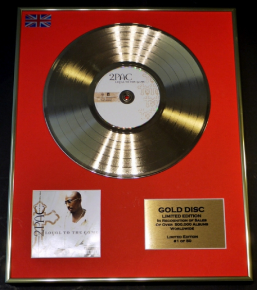 2PAC/LIMITED EDITION CD GOLD DISC/RECORD/COA/LOYAL TO THE GAME