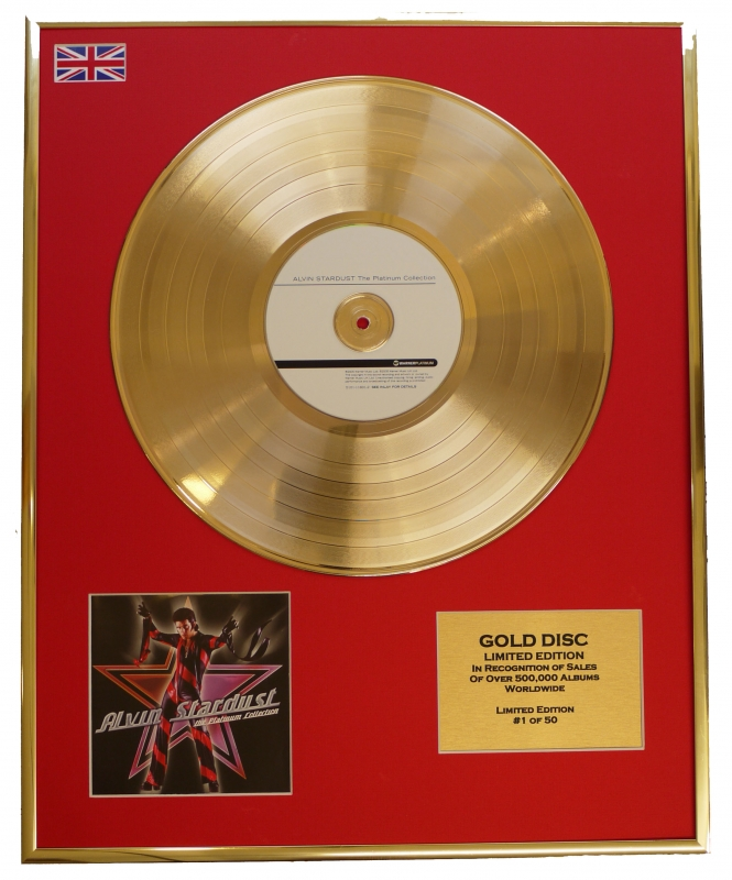 ALVIN STARDUST/LIMITED EDITION CD GOLD DISC/RECORD/COA/THE PLATINUM...