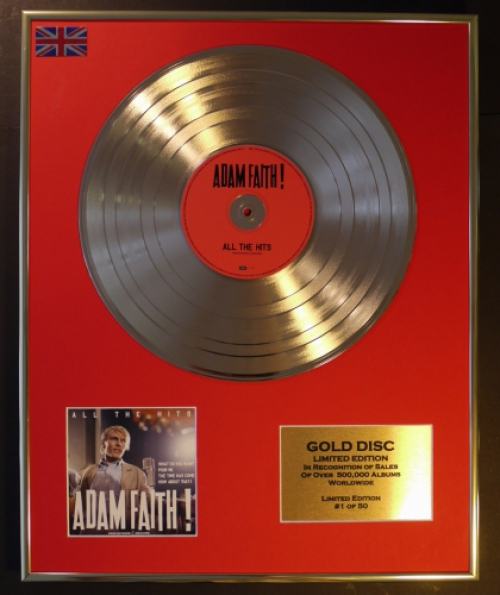 ADAM FAITH/LIMITED EDITION CD GOLD DISC/RECORD/COA/ALL THE HITS