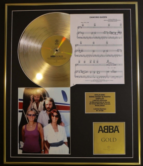 ABBA/CD GOLD DISC, SONG SHEET & PHOTO DISPLAY/ALBUM GOLD/SONGSHEET ...