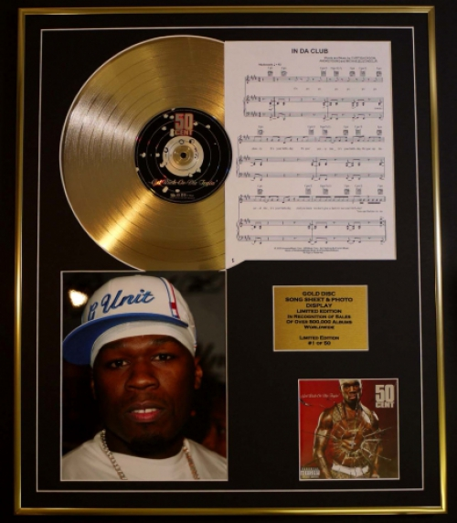 50 CENT CD GOLD DISC, SONG SHEET & PHOTO/ALBUM GET RICH OR DIE TRYI...