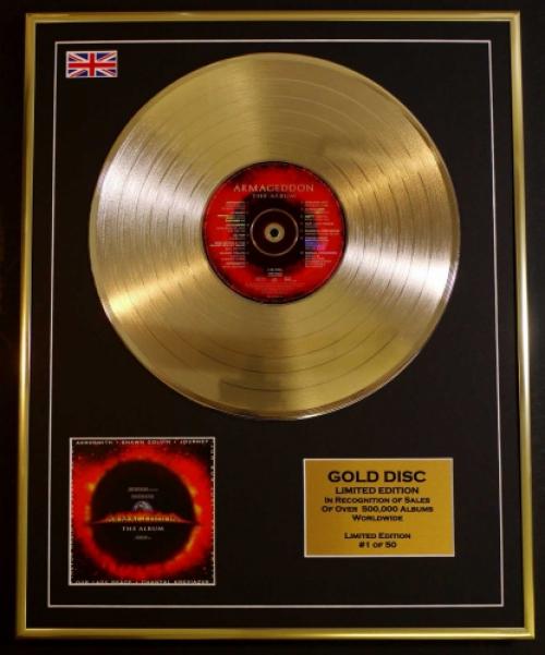 "AEROSMITH/LTD. EDITION CD GOLD DISC/RECORD/""ARMAGEDDON"""