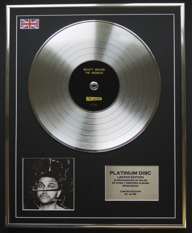 the weeknd ltd edition cd platinum disc record beauty behind the madness