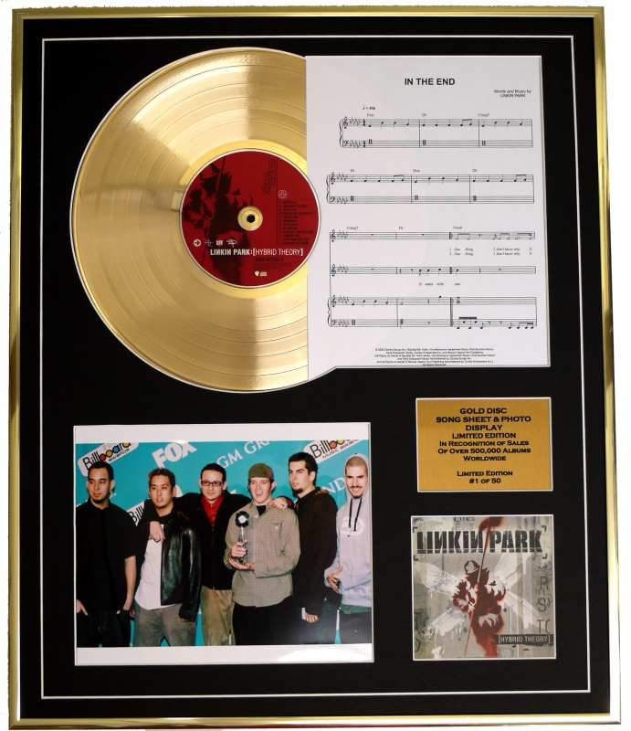 Linkin Park Cd Gold Disc Song Sheet Photo Display Album