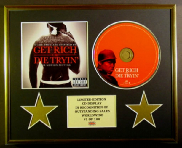 50 CENT/CD DISPLAY/LIMITED EDITION/COA/GET RICH OR DIE TRYIN'